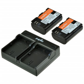 KIT JUPIO 2 BATERIAS LP-E6 (1700mAh)+CARREGADOR DUPLO USB