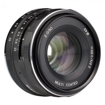 LENTE MEIKE 50mm F/2.0 FOCO MANUAL P/ FUJI FX-MOUNT