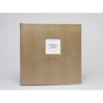 ALBUM BODAS DE OURO 30 FLS 30x30cm C/JANELA  PELE DOURADA