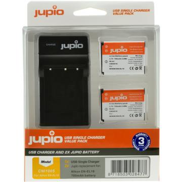 KIT JUPIO 2 BATERIAS EN-EL19(1700mAh)+ CARREGADOR SINGLE USB