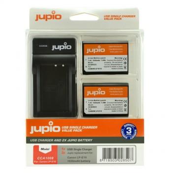 KIT JUPIO 2 BATERIAS LP-E10 + CARREGADOR SINGLE USB