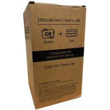 108 FOLHAS PAPEL 10X15 HITI P/CANON SELPHY KP-108IN