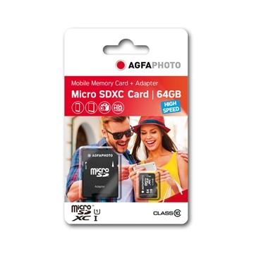 AGFA CARTAO MICRO SDXC I 64GB + ADAPTADOR (CLASSE 10)
