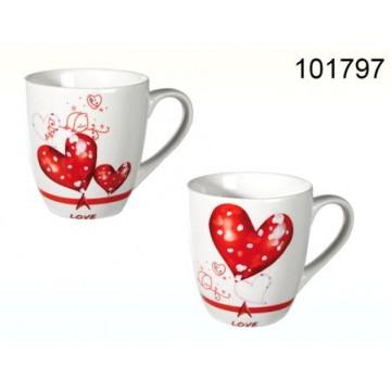 """CANECA """"CORAÇÃO&LOVE"""" JÁ IMPRESSA 8.6X7.5cm REF. 101797"""