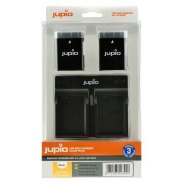KIT JUPIO 2 BATERIAS EN-EL14/A+CARREGADOR DUPLO USB